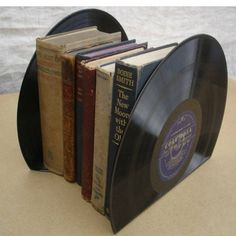 Bookends from old scratched vinyl records