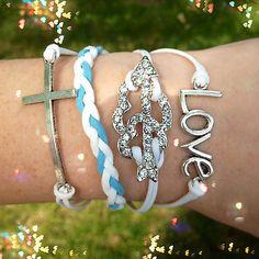 Bracelet Leather Wrap Love Cross Rhinestone Heart Steel Braided White Rope Set