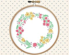 Flower wreath cross stitch cross stitch pattern by GentleFeather