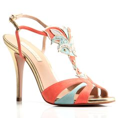 All the fun is in the details: cutouts, studs, pinking, layering and complementary colors all combine in this unique pump to bring out the exciting in your wardrobe. Wear with crop-pants or a fun summer dress on a warm evening out. Perfect for your vacation to Rio or the next birthday party. Suede leather upper with gold-tone ornaments and leather footbed. Leather wrapped heel rises to 4