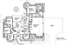 First Floor Plan of Country European   House Plan 66289