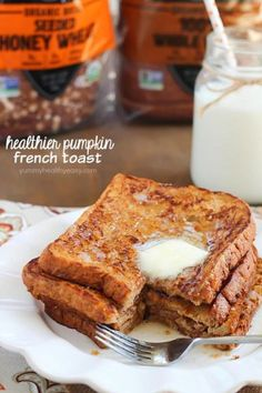 Crazy amazing Pumpkin French Toast Recipe made healthier by using egg whites and 100% whole wheat bread. #ad #daveskillerbread