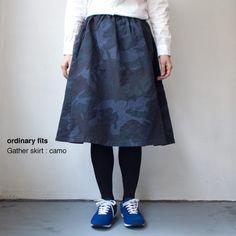 [Ladies']ordinary fits / Gather skirt : camo