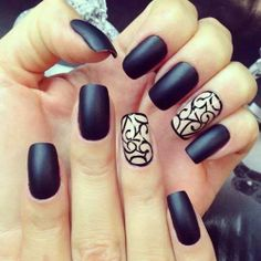 Black Matte Nails.  So daring!
