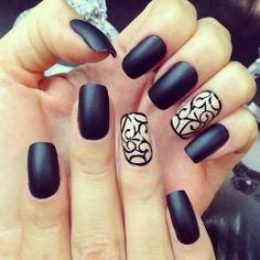 Black Matte Nails.
