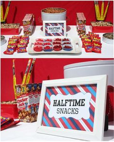 """Baseball party // cute idea although whoever did this clearly never went to a baseball game...baseball doesn't have halftime! how about """"7th inning stretch snacks"""" instead?"""