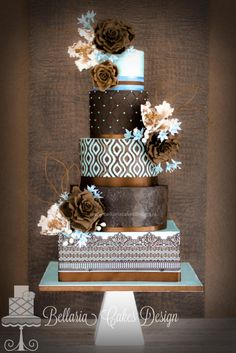 Blue and brown wedding cake - Cake by Bellaria Cakes Design (Riany Clement)