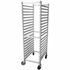"Kelmax Equipment 20 Pan Slot Bun Rack Knock Down (16-0060) Category: Storage Racks and Shelving by Kelmax Equipment. $234.83. Sold Individually. Item #: 16-0060. 20 Tray Capacity, 3"" Spacing, 26"" x 21"" x 70"". End-loading.Heavy duty construction, including all-welded 1"" aluminum square tubing & aluminum slides. Manueuvers smoothly on 4 swivel casters w/ non-marking wheels. NSF approved. Customers also search for: Restaurant Supplies\Kitchen Supplies\Kitchen Storage\Sto..."