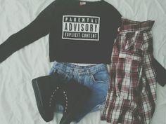 Sweatshirt, denim shorts, docs and flannel <3