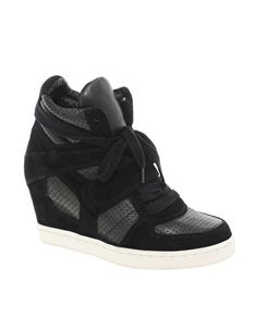 Ash - Cool Bis Strap Black Wedge Trainers