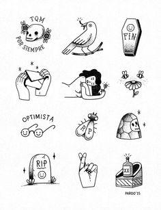 Illustrations by Raúl Prado @ Guadalajara, MX. Mini Tattoos, Black Tattoos, Body Art Tattoos, New Tattoos, Stick N Poke Tattoo, Stick And Poke, Tattoo Sketches, Tattoo Drawings, Handpoke Tattoo