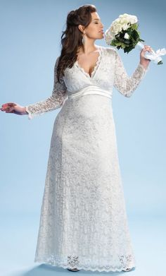 For Curvy Brides: Wedding Dresses Designed With You In Mind:  Empire Waist Lace Wedding Dress,  $348