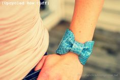 """DIY bow cuff! Time: hour. Need: 8"""" fabric (a heavy vinyl works best), sew machine or needle and thread, fabric glue, bobby pins to hold while glue dries, velcro or snaps."""