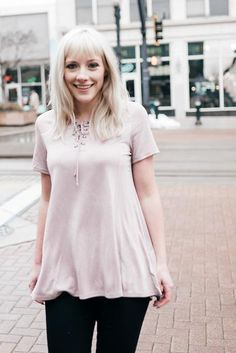Athens Lavender Lace Up Tee