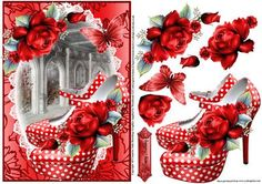 - Beautiful red polka dot shoes with decoupage and sentiment tag With Love Birthday Photo Frame, Birthday Photos, Polka Dot Shoes, Polka Dots, 3d Cards, Strawberry Banana, Decoupage Paper, 3d Paper, Cute Crafts