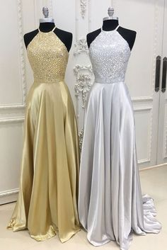 A-line beads satin long prom dress, satin evening dress, gray beads formal dress for teens