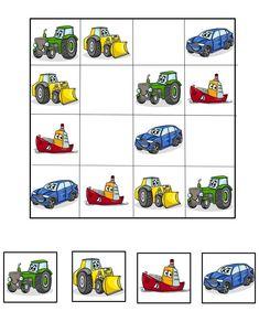 Sudoku doprava – doplňování dopr. prostředků Kindergarten Learning, Preschool Learning Activities, Indoor Activities For Kids, Preschool Printables, Kindergarten Worksheets, Kids Learning, Sudoku Puzzles, Printable Puzzles, Puzzles For Kids