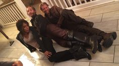 Nearly drowned? Don't worry, just strike a pose. (Nikki Beharie, Tom Mison, and Matt Barr behind the scenes of Sleepy Hollow)