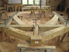 #oak porch in the timber frame workshop at Castle Ring Oak Frame