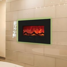 Amantii Enhanced Series 26-Inch Wall Mount/Built-In Electric Fireplace - Black Glass - WM-BI-26 : Fireplace Country