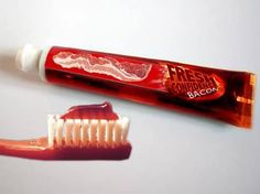 Bacon is getting to be a plenty popular thing, and everybody is coming up with bacon products that have sprawled out from just the dining table. With this toothpaste you can clean those pearly whites with bacon-flavoured toothpaste and have a long-lasting fresh breath of bacon. It may not look very appetizing, but it has that lovely porky taste and smell of everybody's favorite bacon!