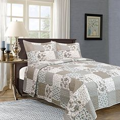 Home Fashion Design Longmeadow Collection 3 Piece Printed Quilt Set with Shams Multi Color  Full  Queen * Find out more about the great product at the image link. (This is an affiliate link) #BeddingSetsCollections