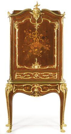 Maison Meynard & Fraget A LOUIS XV STYLE GILT BRONZE MOUNTED KINGWOOD VENEERED CABINET ON STAND Paris, circa 1889-1895