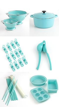 Beautiful kitchen decor ideas for a Tiffany Blue-colored kitchen. Updated with new decorating ideas, Tiffany Blue appliances, kitchen gadgets, etc all the time. Tiffany Blue Kitchen, Blue Kitchen Decor, Tiffany Blue Rooms, Blue Kitchen Accessories, Tiffany Blue Color, Pastel Kitchen, Color Blue, Colour, Kitchen Utensils