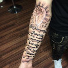 Bicep tattoo men, forearm sleeve tattoos, half sleeve tattoos for guys, body art Gebets Tattoo, Tattoos Verse, Forearm Tattoo Quotes, Forarm Tattoos, Forearm Sleeve Tattoos, Tattoo Script, Best Sleeve Tattoos, Bicep Tattoo Men, Scripture Tattoos