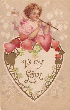 Valentine Cupid, Valentine Images, Valentines Art, Vintage Valentine Cards, Homemade Valentines, My Funny Valentine, Vintage Greeting Cards, Vintage Postcards, Valentine Wreath