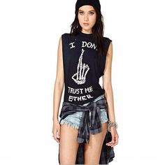I Don't Trust Me Either Punk Sleeveless Shirt - Rebel Style Shop - Unleash your inner rebel with this comfortable yet stylish sleeveless shirt. Printed with a notable warning, anyone who sees you will surely wonder about your personality and woudl want to get to know you more. The versatile shirt is perfect for your biker, grunge or punk rock OOTDs.
