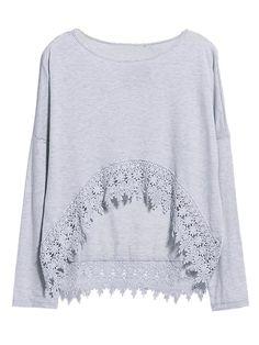 Light Gray Long Sleeve T-shirt With Crochet Lace Hem   Choies