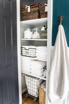 Linen Closet Organization Makeover | blesserhouse.com - 7 tips for perfect linen closet organization for the best ways to sort sheets, keep cleaning supplies handy, make laundry easier, and have guest amenities in easy reach. #organizing #linencloset #organization #bathroomorganizing Small Linen Closets, Bathroom Linen Closet, Bathroom Closet Organization, Bathroom Storage, Bathroom Interior, Home Organization, Bathroom Ideas, Laundry Closet, Laundry Rooms