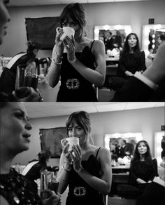 Dakota Johnson getting ready backstage at the 75th @Goldenglobes by gregwilliamsphotography