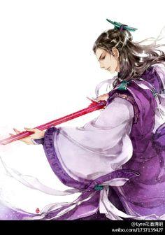 陵越师兄,教我剑术吧。YIN。————《古剑奇谭》Lyre花酒清明画作。点开中图
