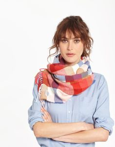Bracken Red Gingham Soft Handle Scarf , Size One Size | Joules US