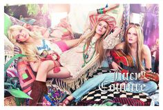 Finally, here's the complete Juicy Couture Spring/Summer 2011 ad campaign featuring Daria Strokous, Hanne-Gaby Odiele & Viktoriya Sasonkina, photographed by Steven Meisel. Juicy Couture, Couture Bags, Bohemian Mode, Boho Chic, Bohemian Style, Bohemian Summer, Bohemian Gypsy, Hippie Style, My Style