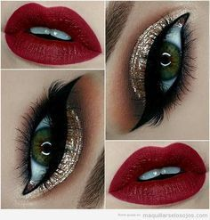 Gold Glitter Eyes + Red Lips Make - up 43 Christmas Makeup Ideas to Copy This Season Red Lip Makeup, Cute Makeup, Gorgeous Makeup, Skin Makeup, Cheap Makeup, Makeup Box, Amazing Makeup, Makeup Looks With Red Lips, Eye Makeup For Prom