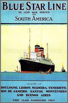 Blue Star Line 1930 Ocean Liner Vintage Poster http://stores.ebay.com/Vintage-Poster-Prints-and-more