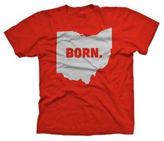 Born Ohio State TShirt Vintage Look and Feel by SoftSpotClothing