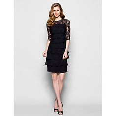 Lanting Sheath/Column Plus Sizes / Petite Mother of the Bride Dress - Black Knee-length Half Sleeve Chiffon / Lace – USD $ 109.99