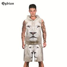 c713412ca7d4 Alisister 2 Pieces Set Lion Print Hoodes Tank Top And Shorts Vest With  Beach Shorts Summer Men s Fashion Suits Print Clothing