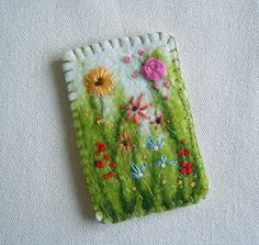 Hand Embroidered Felt Brooch Pin Meadow Flowers by mbSTITCH