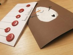 Christmas card DIY diy gift paper snowman red buttons