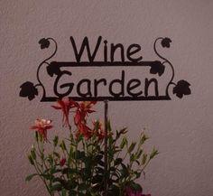 GREAT GIFT for the Wine Lover   Wine Garden Sign by metalgardenart, $19.95