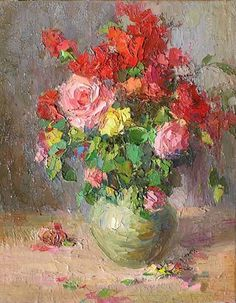 post impressionist art | still life - Roses by Gregory Gamaley