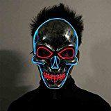 Jyouhin Leuchtet Totenkopfmaske Skelett Halloween Kostüm Karneval Skull Maske EL Kabel LED Licht Mask für Cosplay und Party