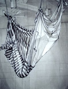 Pencil Drawing. Hang fabric from the ceiling tiles and add some spotlights. A classic drawing exercise