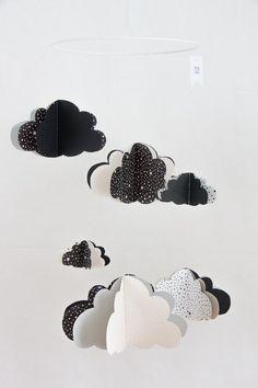Mobile nuages noir et blanc