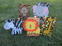 Jungle animal goody bags Birthday. If i had a ton of time these would be cute